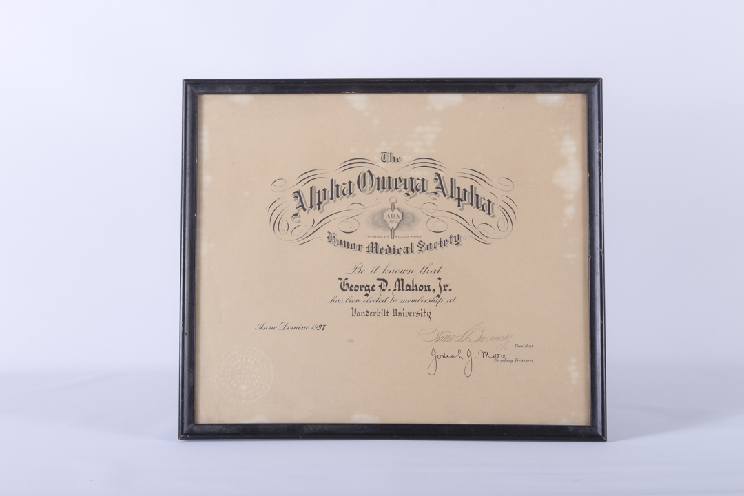 Vanderbilt University Alpha Omega Alpha Honor Medical Society Certificate 1937
