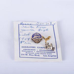 Vintage 1954 Santa Rosa Junior High School Honor Society Dangler Pin on Card CA