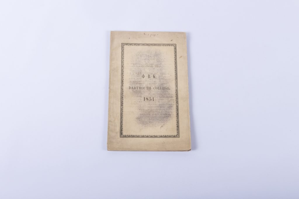 Dartmouth College Phi Beta Kappa Catalog 1851