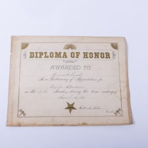 1889 Diploma of Honor Certificate Fifth Grade Perfect Attendance Raymond Lynch