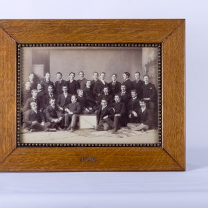 1890 ANTIQUE COLLEGE CLASS PHOTO PHOTOGRAPH of COLLEGE MEN dated 1890 FRAMED