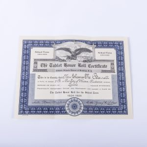1924-1925 Honor Roll Certificate- Catholic Schools Diocese Brooklyn NY