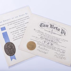 1945 Tau Beta Pi Fraternity and Society of Sigma Xi Documents for Carl Lewis Becker