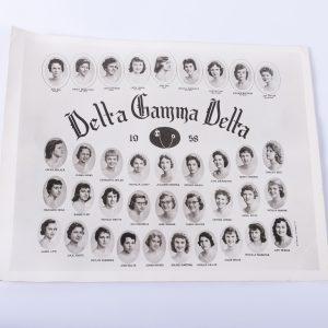 1958 Delta Gamma Delta. Vintage Sorority Photograph. College, Sorority Girls, Tisdell Studio. Black & White Group Sorority Picture. Ephemera