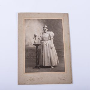 Beautiful Antique Cabinet Photo of Woman in White Dress with Rolled Diploma