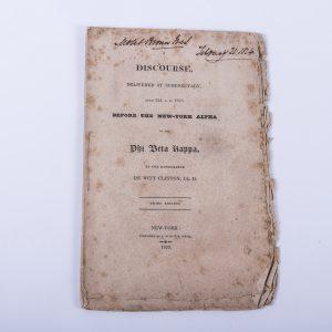 PHI BETA KAPPA FRATERNITY SCHENECTADY NEW YORK ANTIQUE BOOK DEWITT CLINTON 1823