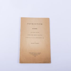 Patriotism An Oration by William Everett - 1901 Booklet- Phi Beta Kappa Harvard