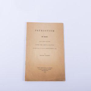 Patriotism An Oration by William Everett - 1901 Booklet- Phi Beta Kappa Harvard
