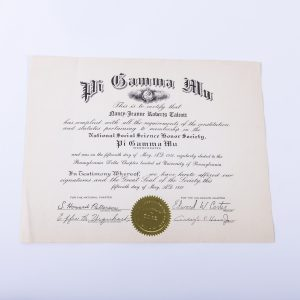 Pi Gamma Mu social science honor society certificate 1950