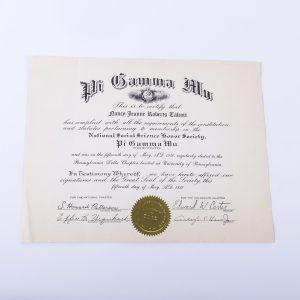 Pi Gamma Mu social science honor society certificate 1950