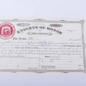 Supreme Lodge Knights of Honor $2,000 benefit certificate