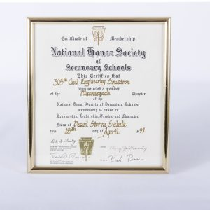 Vintage Certificate National Honor Society of Secondary Schools Desert Storm '91